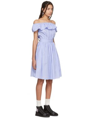 photo Blue Striped Off-the-Shoulder Dress by Miu Miu - Image 2