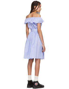 photo Blue Striped Off-the-Shoulder Dress by Miu Miu - Image 3