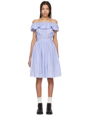 photo Blue Striped Off-the-Shoulder Dress by Miu Miu - Image 1