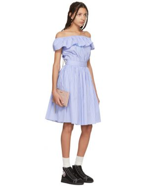 photo Blue Striped Off-the-Shoulder Dress by Miu Miu - Image 4