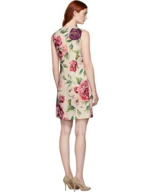 photo Beige and Pink Peony Dress by Dolce and Gabbana - Image 3