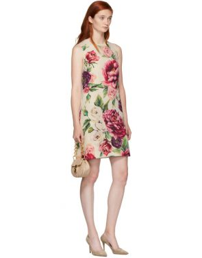 photo Beige and Pink Peony Dress by Dolce and Gabbana - Image 5