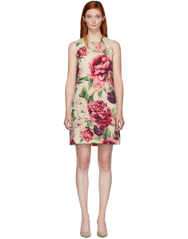 photo Beige and Pink Peony Dress by Dolce and Gabbana - Image 1