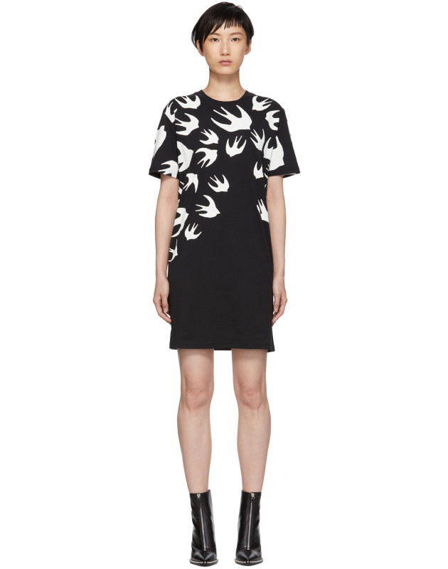 photo Black Swallow Signature T-Shirt Dress by McQ Alexander McQueen - Image 1