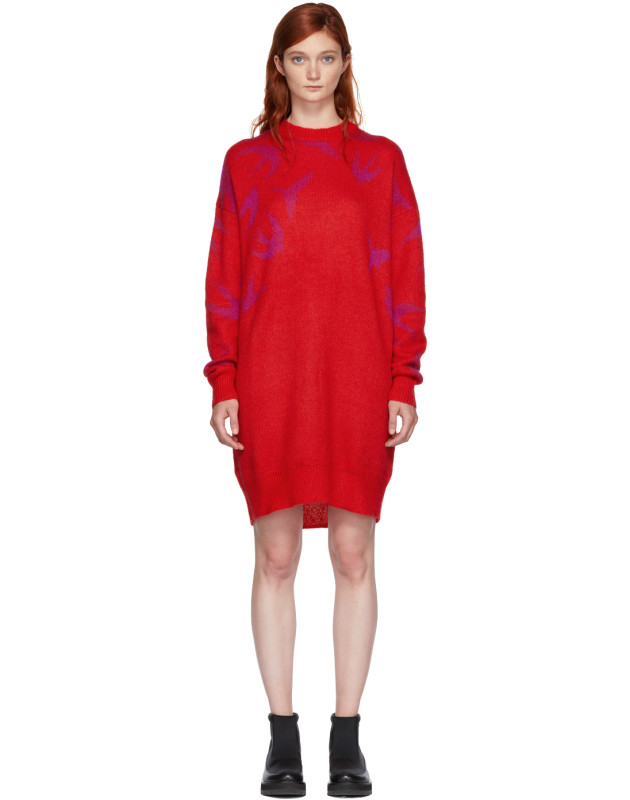 photo Red and Pink Swallow Swarm Dress by McQ Alexander McQueen - Image 1