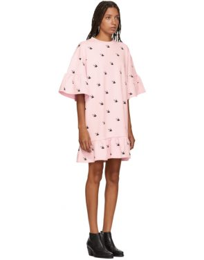 photo Pink Mini Swallow Ruffled T-Shirt Dress by McQ Alexander McQueen - Image 2
