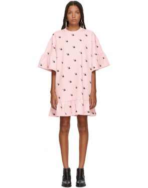 photo Pink Mini Swallow Ruffled T-Shirt Dress by McQ Alexander McQueen - Image 1