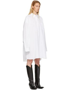 photo White Poplin Shirt Dress by Maison Margiela - Image 2