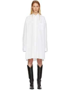 photo White Poplin Shirt Dress by Maison Margiela - Image 1