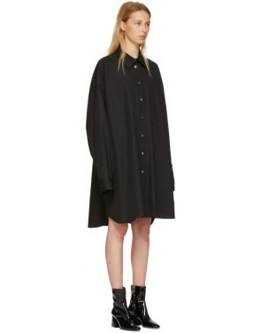 photo Black Poplin Shirt Dress by Maison Margiela - Image 2