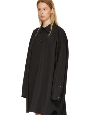 photo Black Poplin Shirt Dress by Maison Margiela - Image 4