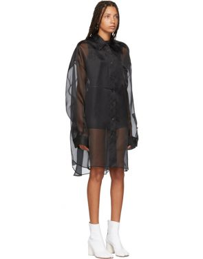 photo Black Silk Shirt Dress by Maison Margiela - Image 2