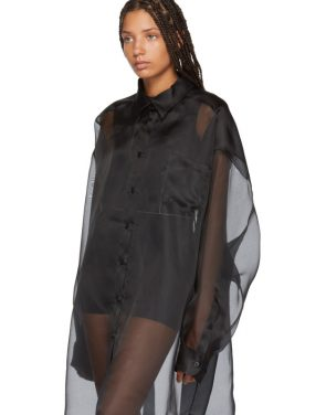 photo Black Silk Shirt Dress by Maison Margiela - Image 5