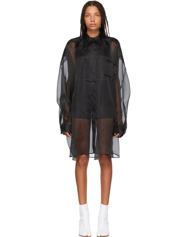 photo Black Silk Shirt Dress by Maison Margiela - Image 1