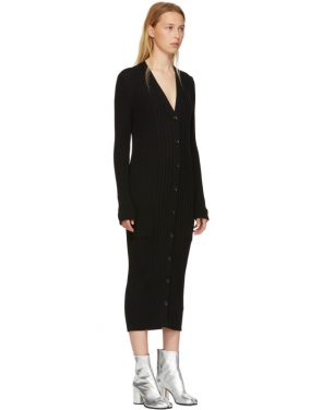 photo Black Wool Ribbed Dress by Maison Margiela - Image 2