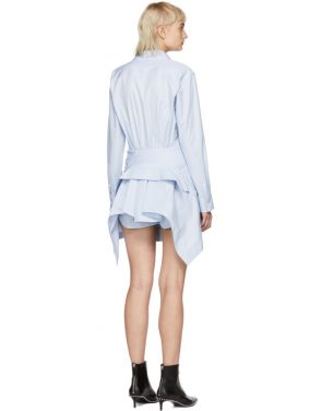 photo Blue and White Striped Front Tie Shirt Dress by Alexander Wang - Image 3