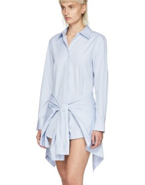 photo Blue and White Striped Front Tie Shirt Dress by Alexander Wang - Image 4