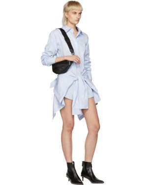 photo Blue and White Striped Front Tie Shirt Dress by Alexander Wang - Image 5