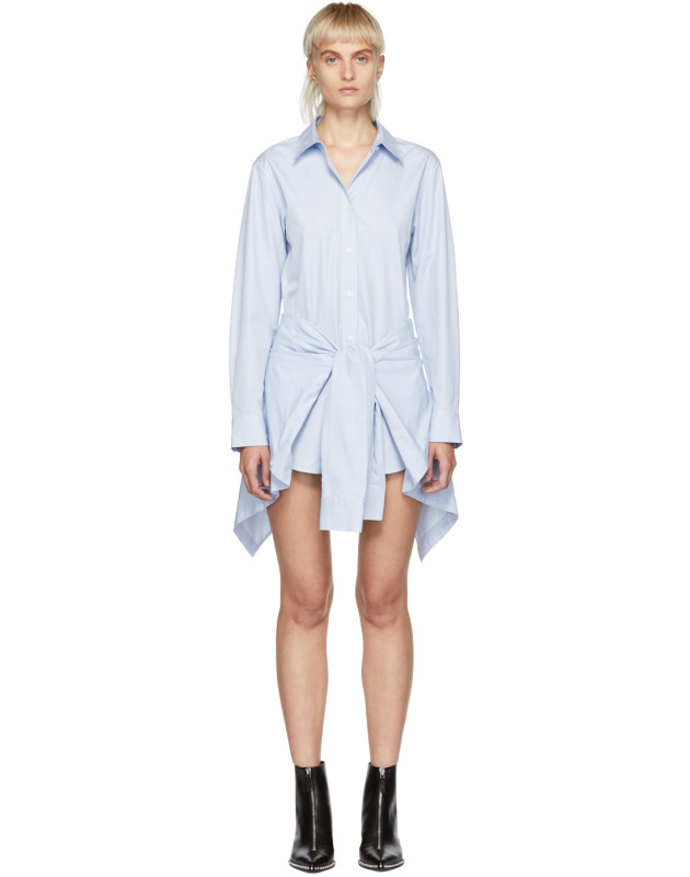 photo Blue and White Striped Front Tie Shirt Dress by Alexander Wang - Image 1
