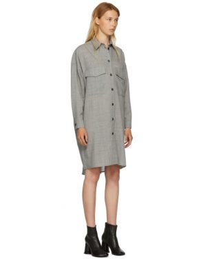 photo Grey Wool Casual Tailoring Shirt Dress by MM6 Maison Martin Margiela - Image 2