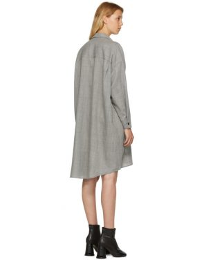 photo Grey Wool Casual Tailoring Shirt Dress by MM6 Maison Martin Margiela - Image 3