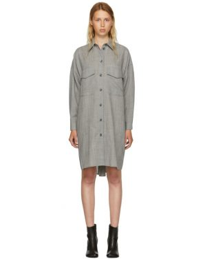 photo Grey Wool Casual Tailoring Shirt Dress by MM6 Maison Martin Margiela - Image 1