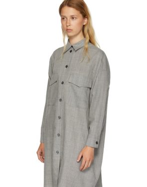 photo Grey Wool Casual Tailoring Shirt Dress by MM6 Maison Martin Margiela - Image 4