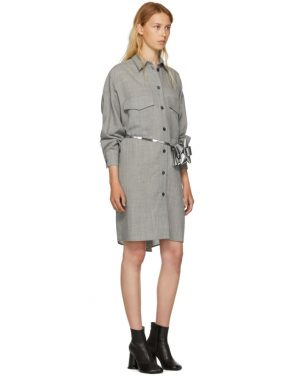 photo Grey Wool Casual Tailoring Shirt Dress by MM6 Maison Martin Margiela - Image 5