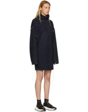 photo Blue Sparkling Knit Jersey Oversized Dress by MM6 Maison Martin Margiela - Image 2