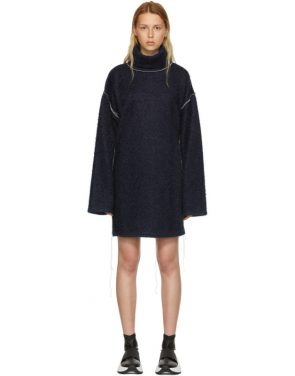 photo Blue Sparkling Knit Jersey Oversized Dress by MM6 Maison Martin Margiela - Image 1
