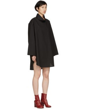 photo Black Poplin Turtleneck Dress by MM6 Maison Martin Margiela - Image 2