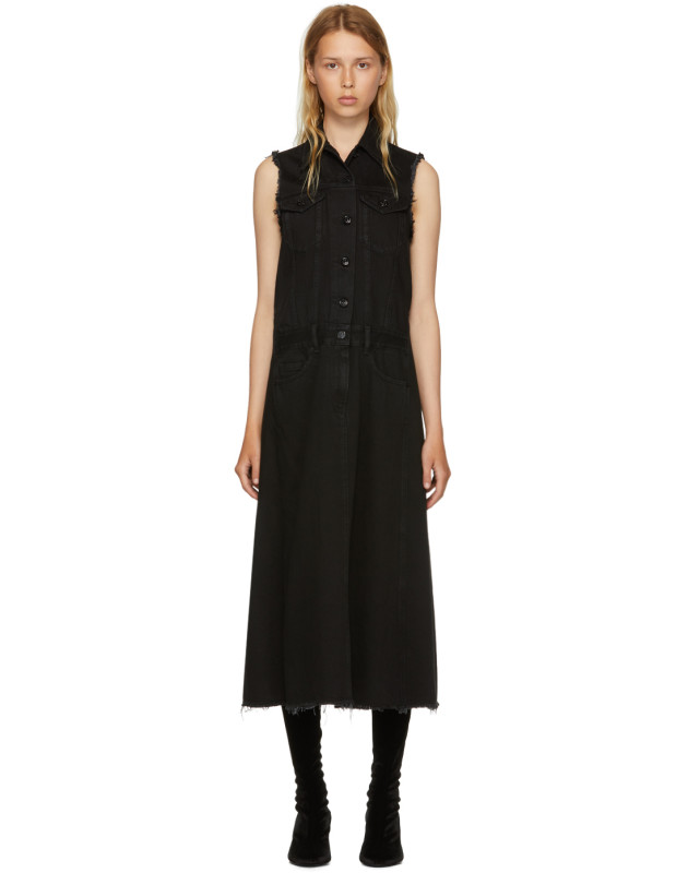 photo Black Just Wash Sleeveless Denim Dress by MM6 Maison Martin Margiela - Image 1