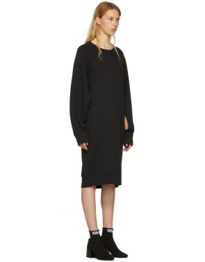 photo Black Basic Cotton Sweatshirt Dress by MM6 Maison Martin Margiela - Image 2