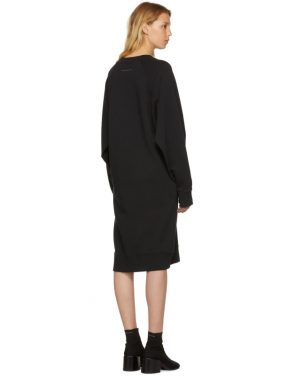 photo Black Basic Cotton Sweatshirt Dress by MM6 Maison Martin Margiela - Image 3