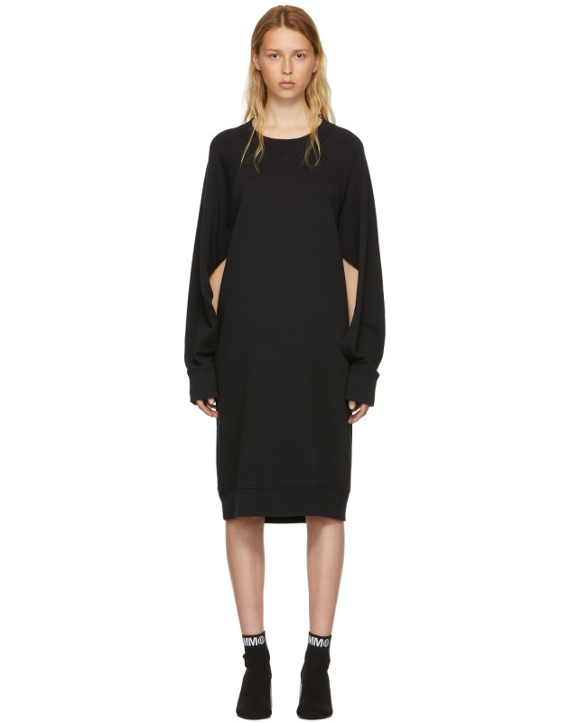 photo Black Basic Cotton Sweatshirt Dress by MM6 Maison Martin Margiela - Image 1