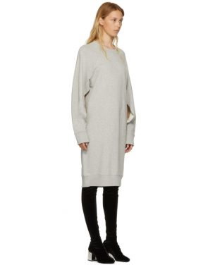 photo Grey Basic Cotton Sweatshirt Dress by MM6 Maison Martin Margiela - Image 2