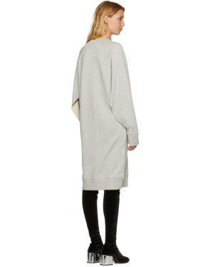 photo Grey Basic Cotton Sweatshirt Dress by MM6 Maison Martin Margiela - Image 3
