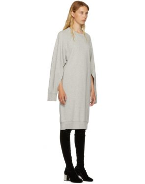 photo Grey Basic Cotton Sweatshirt Dress by MM6 Maison Martin Margiela - Image 4