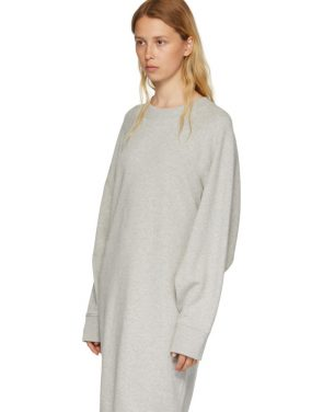 photo Grey Basic Cotton Sweatshirt Dress by MM6 Maison Martin Margiela - Image 5