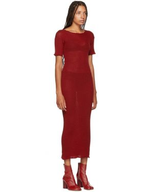photo Red Fitted Thin Rib Dress by MM6 Maison Martin Margiela - Image 2