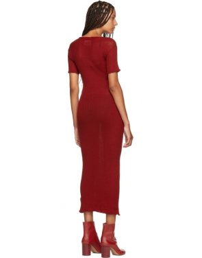 photo Red Fitted Thin Rib Dress by MM6 Maison Martin Margiela - Image 3