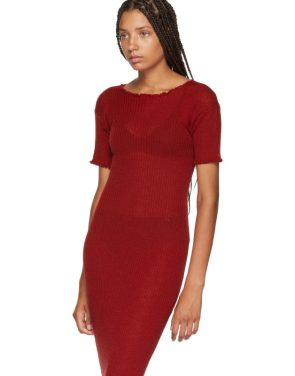 photo Red Fitted Thin Rib Dress by MM6 Maison Martin Margiela - Image 4