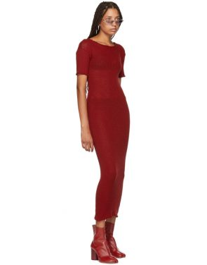 photo Red Fitted Thin Rib Dress by MM6 Maison Martin Margiela - Image 5