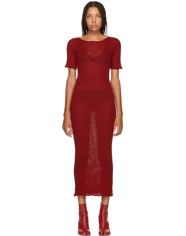 photo Red Fitted Thin Rib Dress by MM6 Maison Martin Margiela - Image 1