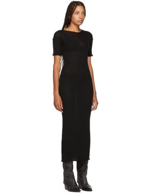 photo Black Fitted Thin Rib Dress by MM6 Maison Martin Margiela - Image 2