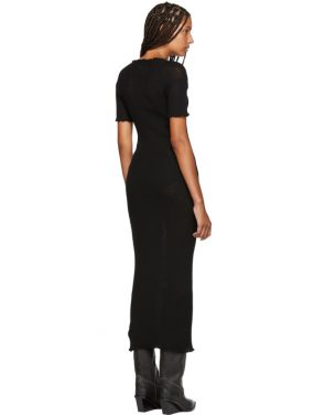 photo Black Fitted Thin Rib Dress by MM6 Maison Martin Margiela - Image 3