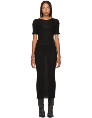 photo Black Fitted Thin Rib Dress by MM6 Maison Martin Margiela - Image 1