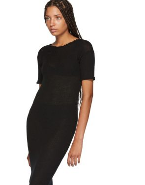 photo Black Fitted Thin Rib Dress by MM6 Maison Martin Margiela - Image 4
