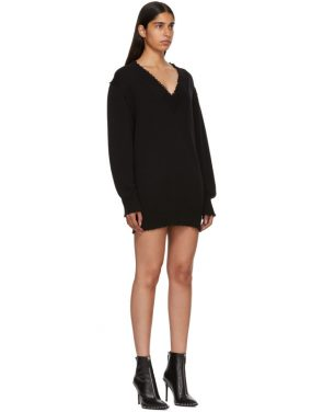 photo Black Distressed V-Neck Sweater Dress by T by Alexander Wang - Image 2