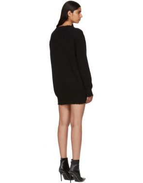 photo Black Distressed V-Neck Sweater Dress by T by Alexander Wang - Image 3